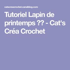 Tutoriel Lapin de printemps 🌸🐰 - Cat's Créa Crochet Cat S, Filet Crochet, Deco, Creative, Amigurumi, Crochet Edgings, Tejidos, Flat Stomach, Tutorial Sewing