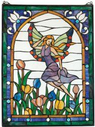 Fairy's Garden Stained Glass Window would be so cute in a baby girls room window