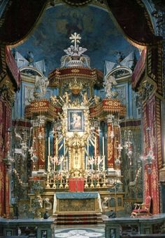 The high altar inside the sanctuary of the Madonna della Consolata in Turin, Italy.