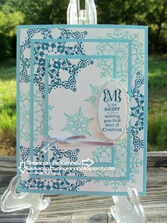 Triple Time Stamping Christmas card. Stampin' Up! Snowflake Soiree & Occasions Alphabet ~ Crafty Shannon