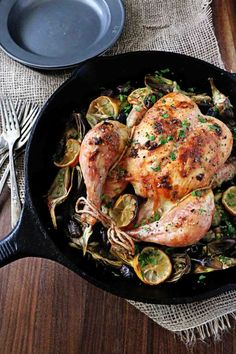 Roasted Chicken with Baby Artichokes and Olives - beautiful one-pan meal. Use all olive oil instead of butter here.