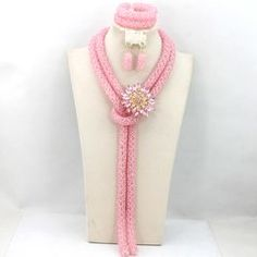 AMAZING PINK 2 layer AFRICAN NIGERIAN WEDDING PARTY BEADS BRIDAL NECKLACE SET