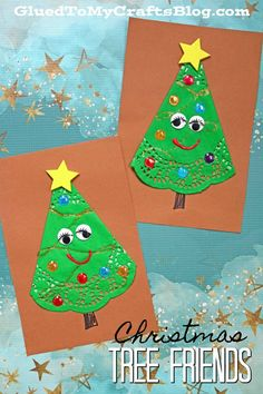 Paper Doily Christmas Tree Friends - Paper Art Craft - Glued To My Crafts It's another awesome Dollar Tree kid craft idea! Check out our Paper Doily Christmas Tree Friends - Paper Art Craft tutorial! Christmas Tree Paper Craft, Preschool Christmas, Noel Christmas, Christmas Activities, Christmas Projects, Holiday Crafts, Fall Crafts For Toddlers, Crafts For Boys, Fun Crafts