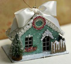 putz putz hous, christma villag, hous ornament, little houses, glitter houses, christmas decorations, christmas boxes, cardboard hous, christmas houses