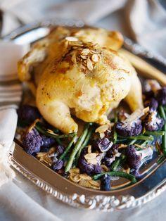 Garlic Roasted Chicken with Green Beans and Cauliflower