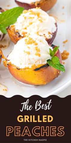 This recipe for butter and brown sugar grilled peaches is the perfect dessert and a great thing to serve after a barbeque. Peaches are best when they are fresh and falling off-the-tree ripe, but sometimes you just need a really great recipe for summertime fruits, just like my grilled pineapple. Best Dessert Recipes, Brunch Recipes, Fun Desserts, Grilled Fruit, Grilled Peaches, Short Recipes, Other Recipes, Peach Cobbler With Bisquick, Grilling Recipes