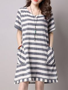 Sale 15% (20.49$) - Casual Women Short Sleeve Striped Pockets Keyhole Mini Dress