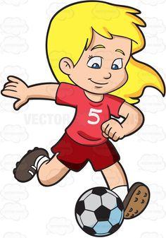 A girl kicking a soccer ball Football Girls, Kids Soccer, Soccer Ball, Sports Clips, Ball Drawing, Sport Inspiration, Sports Day, Sport Photography, Cartoon Kids