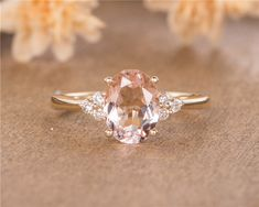 Nature Inspired Morganite Engagement Ring Rose Gold Engagement Ring Branch and Leaf Morganite Ring - Fine Jewelry Ideas Yellow Engagement Rings, Classic Engagement Rings, Engagement Ring Settings, Morganite Engagement Rings, Oval Morganite Ring, Engagement Signs, Ring Engagement, Halo, Ring Verlobung