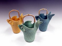 Beautiful Knitting Bowls by Sue Henshaw Pottery