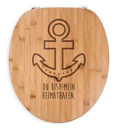 Mr. & Mrs. Panda WC Sitz Anker - 100% handmade aus Bambus - Anker, maritim, Meer, Küste, Schiff WC Sitz, Klobrille, Toilettensitz, Klodeckel Anker, maritim, Meer, Küste, Schiff