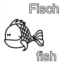 Englisch lernen: Ausmalbild Englisch lernen: Fisch - fish zum Ausmalen