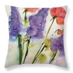 """Wild Flowers Part Two Throw Pillow by Britta Zehm. Our throw pillows are made from 100% spun polyester poplin fabric and add a stylish statement to any room. Pillows are available in sizes from 14"""" x 14"""" up to 26"""" x 26"""". Each pillow is printed on both sides (same image) and includes a concealed zipper and removable insert (if selected) for easy cleaning."""