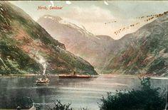 Møre og Romsdal fylke Stranda kommune Geiranger Merok Söndmör (Sunnmøre) 2 skip på Geirangerfjorden kolorert kort Utg E. A.  Schjørn tidlig 1900-tallet