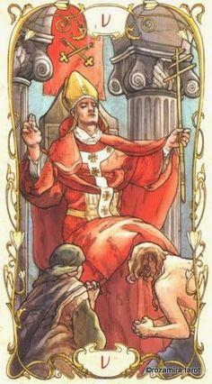 The elegant Tarot Mucha celebrates the Art Nouveau style of painter Alphonse Mucha. Klimt, Illustrations, Illustration Art, Art Deco Artwork, Art Nouveau, Alphonse Mucha Art, The Hierophant, Inspiration Art, Tarot Major Arcana