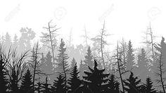 Vector горизонтальные иллюстрации хвойные верхушки деревьев лес (сосна, ель...