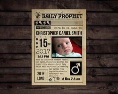 Harry Potter Inspired Birth Announcement // Editable PDF //