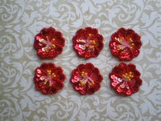 RUBY RED HIBISCUS Sequin and Bead Appliques    by KeepsakesStudio, $4.99