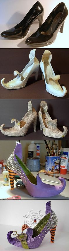 Make the coolest most wicked WITCH shoes from an old pair of your heels! | Dale detalles - Spooktacular Halloween DIYs, Crafts and Projects - The BEST Do it Yourself Halloween Decorations