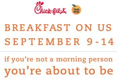 Chick-fil-a: FREE Breakfast Entree September 9 - 14!