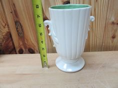 Antique/Vintage Red Wing USA Pottery Planter/Vase White/Green #RedWing