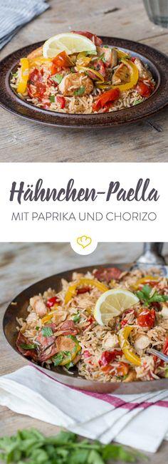Der Klassiker aus Spanien leicht abgewandelt: In diese Paella kommen zartes Hähnchenfleisch, knackige Paprika und würzige Chorizo