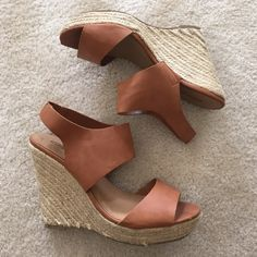 Tan wedges Gently worn tan faux leather strap wedges in great condition perfect summer sandals with the color and wedge texture Breckelles Shoes Wedges