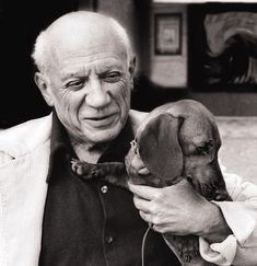 """Picasso and his dachshund, Lump """"Lump, he's not a dog, he's not a little man, he's somebody else. — Picasso """" There's a whole book about these two, and, of course, the print. See also, this great..."""