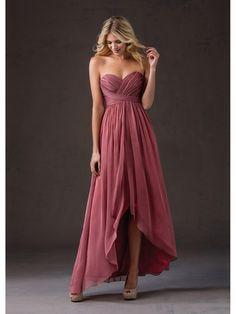 Attractive Silk-like Chiffon Sweetheart Neckline A-line Hi-lo Bridesmaid Dresses