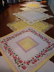 Vintage handkerchief runner... find hankies @ http://www.nanaluluslinensandhandkerchiefs.com/