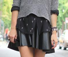 leather skirt cross