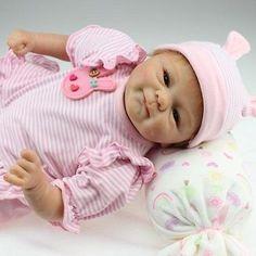 cool 18'' Handmade Lifelike Baby Girl Doll Silicone Vinyl Reborn Baby Newborn Preemie - For Sale