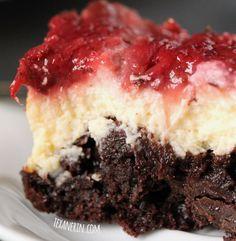 These super fudgy strawberry cheesecake brownies are made healthier with 100% whole grains and Greek yogurt!