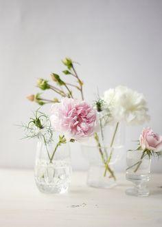 Blüten in Vintage Gläsern   Foto: Sabine Wittig