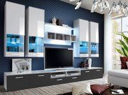 Mobilier camera de zi Aston 2 (Alb + Gri) (cu iluminat) Modern Wall Units, Tv Display, Led Furniture, High Gloss, The Unit, Living Room, Sitting Rooms, Family Room, Living Rooms