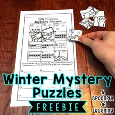 FREEBIE! Winter Mystery Puzzles: Beginning Sounds, Ending Sounds, CVC Words, Addition, Subtraction, Counting