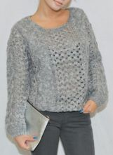 Grey Round Neck Long Sleeve Hollow Sweater