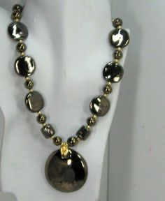 Kazuri Jewelry Special Black Gold Pendant Necklace