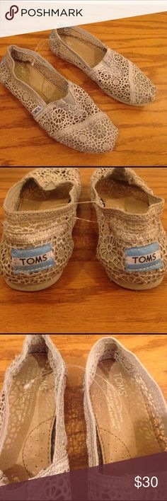 Size5Y TOMS doily type material so cute !! Size5Y TOMS doily type material so cute !! In a neutral color will go with everything in Excellent condition excepting offers TOMS Shoes Sandals & Flip Flops