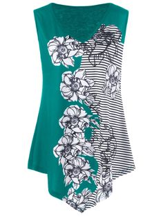 Striped and Floral Plus Size Tank Top in Green | Sammydress.com