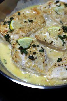 Chicken Recipe made with a Lemon Garlic Cream Sauce Gluten Free
