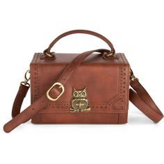 On the Flight Side Bag (47.840 CLP) ❤ liked on Polyvore featuring bags, purses, handbags, accessories, bolsas, brown, owls, print with animals, folk art and faux leather