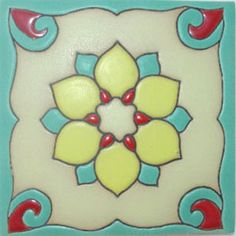 Bold Turquoise, Teal & Red Mexican High Relief Tiles ...these would go perfect in the kitchen!! LOVE!