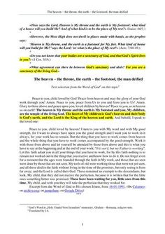 The Word of God about the heaven – the throne, the earth – the footstool, the man deified Digital Magazine, Word Of God, Romania, The Man, Heaven, Author, Earth, Sayings, Words