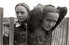 Hutterite girls with braids