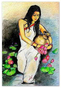 Love yourself like your life depends on it because it does. Oil Pastel Art, Oil Pastel Drawings, Indian Women Painting, Rajasthani Art, African Art Paintings, Mother Art, Art Village, Madhubani Art, Indian Folk Art