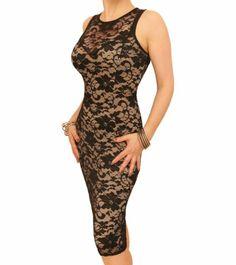 Nude and Black Lace Sleeveless Dress #womensfashion justblue.com
