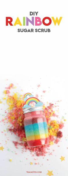 DIY Rainbow Sugar Scrub With Free Printable Rainbow Label Sugar Scrub Homemade, Homemade Lip Balm, Sugar Scrub Recipe, Lemon Body Scrubs, Lavender Sugar Scrub, Lip Balm Recipes, Sugar Scrubs, Salt Scrubs, Homemade Cosmetics