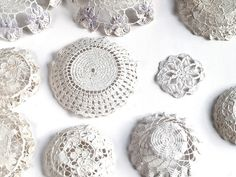 Doilies dipped in plaster of paris then moulded into bowls