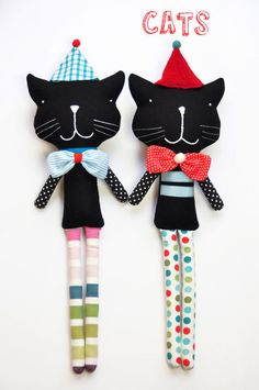 handmade soft toy cat Reinaldo black and red with by PinkNounou